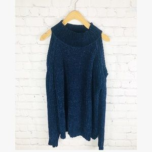 Design Lab cold shoulder blue sweater M